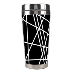 Black And White Simple Design Stainless Steel Travel Tumblers by Valentinaart