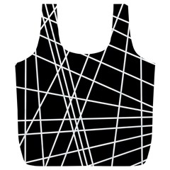 Black And White Simple Design Full Print Recycle Bags (l)  by Valentinaart
