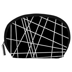 Black And White Simple Design Accessory Pouches (large)  by Valentinaart