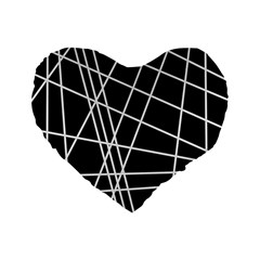Black And White Simple Design Standard 16  Premium Flano Heart Shape Cushions by Valentinaart