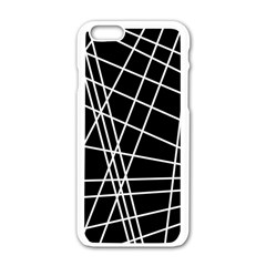 Black And White Simple Design Apple Iphone 6/6s White Enamel Case by Valentinaart