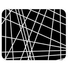 Black And White Simple Design Double Sided Flano Blanket (medium)  by Valentinaart