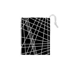 Black And White Simple Design Drawstring Pouches (xs)  by Valentinaart
