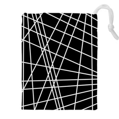 Black And White Simple Design Drawstring Pouches (xxl) by Valentinaart