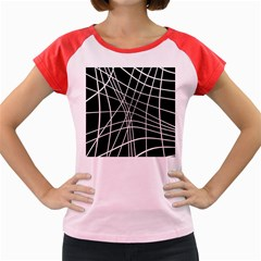 Black And White Elegant Lines Women s Cap Sleeve T Shirt by Valentinaart