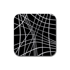 Black And White Elegant Lines Rubber Coaster (square)  by Valentinaart
