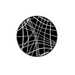 Black And White Elegant Lines Hat Clip Ball Marker by Valentinaart