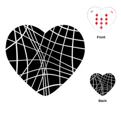 Black And White Elegant Lines Playing Cards (heart)  by Valentinaart