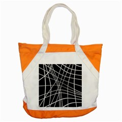 Black And White Elegant Lines Accent Tote Bag by Valentinaart