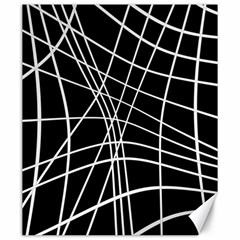 Black And White Elegant Lines Canvas 20  X 24   by Valentinaart