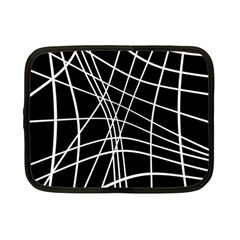 Black And White Elegant Lines Netbook Case (small)  by Valentinaart