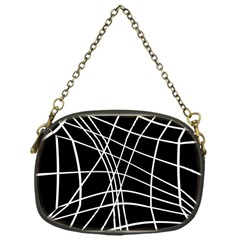 Black And White Elegant Lines Chain Purses (one Side)  by Valentinaart