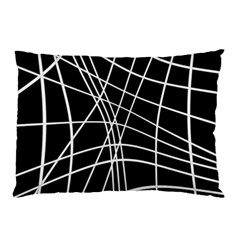 Black And White Elegant Lines Pillow Case by Valentinaart