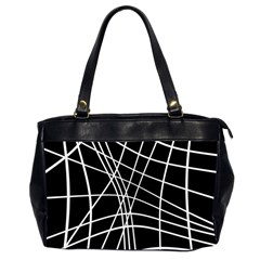 Black And White Elegant Lines Office Handbags (2 Sides)  by Valentinaart