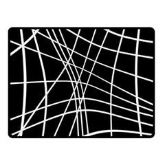 Black And White Elegant Lines Fleece Blanket (small) by Valentinaart
