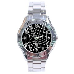 Black And White Elegant Lines Stainless Steel Analogue Watch by Valentinaart
