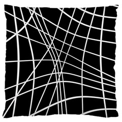 Black And White Elegant Lines Large Cushion Case (one Side) by Valentinaart