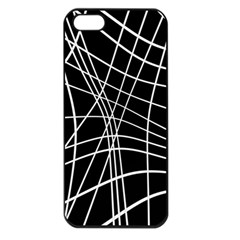 Black And White Elegant Lines Apple Iphone 5 Seamless Case (black) by Valentinaart