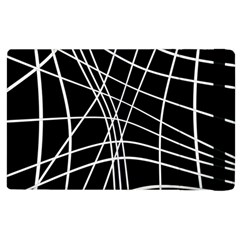 Black And White Elegant Lines Apple Ipad 2 Flip Case by Valentinaart