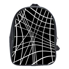 Black And White Elegant Lines School Bags (xl)  by Valentinaart