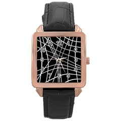 Black And White Elegant Lines Rose Gold Leather Watch  by Valentinaart