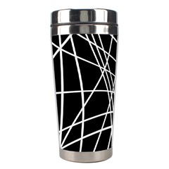 Black And White Elegant Lines Stainless Steel Travel Tumblers by Valentinaart