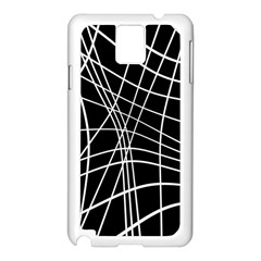 Black And White Elegant Lines Samsung Galaxy Note 3 N9005 Case (white) by Valentinaart