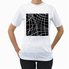 Black And White Elegant Lines Women s T-shirt (white)  by Valentinaart