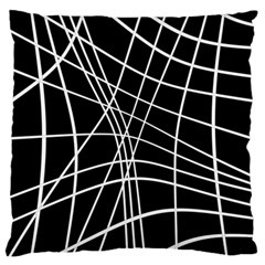 Black And White Elegant Lines Large Flano Cushion Case (two Sides) by Valentinaart