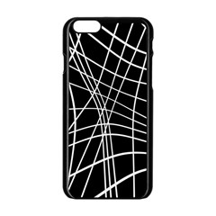 Black And White Elegant Lines Apple Iphone 6/6s Black Enamel Case by Valentinaart