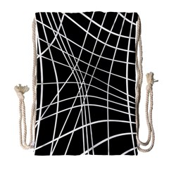Black And White Elegant Lines Drawstring Bag (large) by Valentinaart