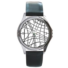 Black And White Decorative Lines Round Metal Watch by Valentinaart