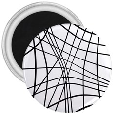 Black And White Decorative Lines 3  Magnets by Valentinaart