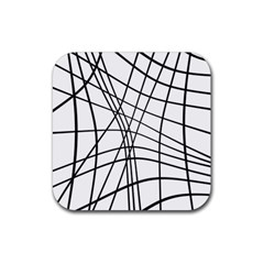 Black And White Decorative Lines Rubber Coaster (square)  by Valentinaart