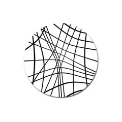 Black And White Decorative Lines Magnet 3  (round) by Valentinaart