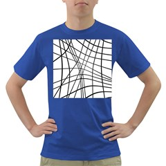 Black And White Decorative Lines Dark T Shirt by Valentinaart