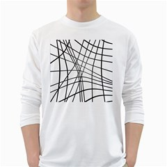 Black And White Decorative Lines White Long Sleeve T Shirts by Valentinaart