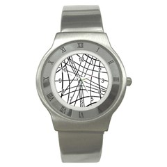 Black And White Decorative Lines Stainless Steel Watch by Valentinaart