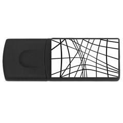 Black And White Decorative Lines Usb Flash Drive Rectangular (4 Gb)  by Valentinaart