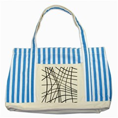 Black And White Decorative Lines Striped Blue Tote Bag by Valentinaart