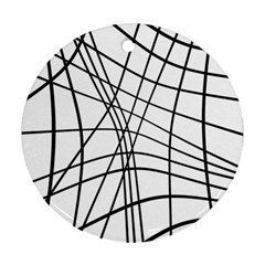 Black And White Decorative Lines Round Ornament (two Sides)  by Valentinaart