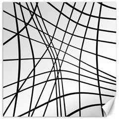 Black And White Decorative Lines Canvas 16  X 16   by Valentinaart