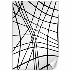 Black And White Decorative Lines Canvas 24  X 36  by Valentinaart