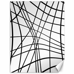 Black And White Decorative Lines Canvas 36  X 48
