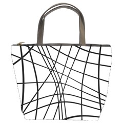 Black And White Decorative Lines Bucket Bags by Valentinaart