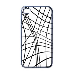Black And White Decorative Lines Apple Iphone 4 Case (black) by Valentinaart