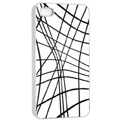 Black And White Decorative Lines Apple Iphone 4/4s Seamless Case (white) by Valentinaart
