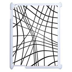 Black And White Decorative Lines Apple Ipad 2 Case (white) by Valentinaart