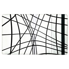 Black And White Decorative Lines Apple Ipad 3/4 Flip Case by Valentinaart