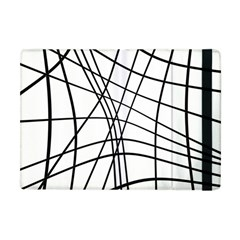 Black And White Decorative Lines Apple Ipad Mini Flip Case by Valentinaart